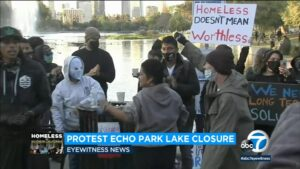 Activists, homeless protest against planned clearing of Echo Park Lake