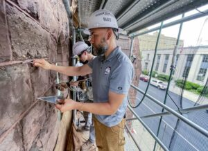 Restoration work is underway on a historic steeple in downtown Reading   Local News