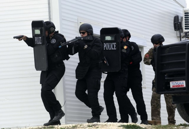 Law enforcement professionals from multiple forces train together March 28, 2019 at the Gjorce Petrov Police Compound in North Macedonia's capital city of Skopje at a shoot house delivered by the U.S. Army Corps of Engineers through a partnership with the U.S. Department of Justice's International Criminal Investigative Training Assistance Program in the U.S. Embassy in Skopje and funded through the U.S. European Command. The shoot house is one of a handful of projects delivered at the Gjorce Petrov Police Compound through the partnership which are intended to enable law enforcement professionals from North Macedonia and throughout the region to participate in training and exercises geared toward combating regional narcotic trafficking. (Courtesy Photo)